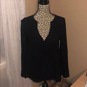 Naked Zebra Tops - Black button blouse